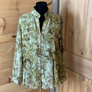 Coldwater Creek blouse with sheer overlay 2X